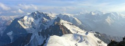 Paniramic view on mountains of Northen Tien Shan from top of Komsomol mountain (4376 m)