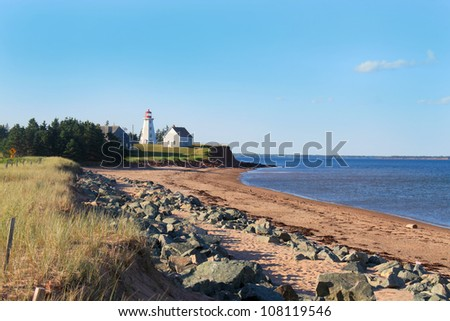 Panmure Island lighthouse in the Atlantic shore of Prince Edward Island, Canada