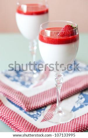 panna cotta dessert with strawberry sirup