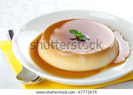 panna cotta on a plate - stock photo