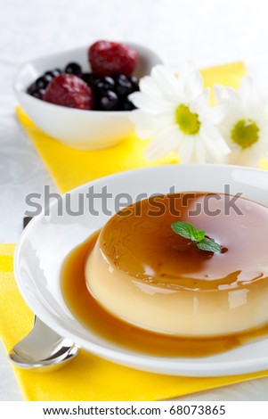 panna cotta with caramel on plate