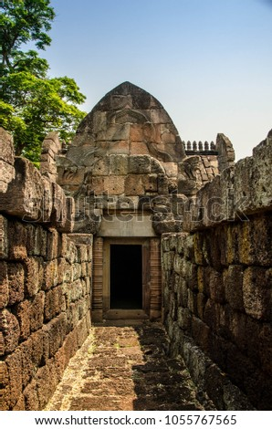 Panomrung stone castle, ancient castle in Buriram Thailand famous history travel place,long history by khom kigdom culture in past,the best architecture design with sun light accuracy