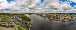 Panoraemic view of battleship and downtown Wilmington,NC