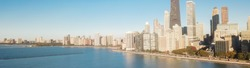 Panorama aerial view lakefront Chicago skylines along Lake Shore Drive in early fall morning