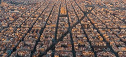 Panorama aerial view of Barcelona Eixample residencial district and famous basilica, Catalonia, Spain