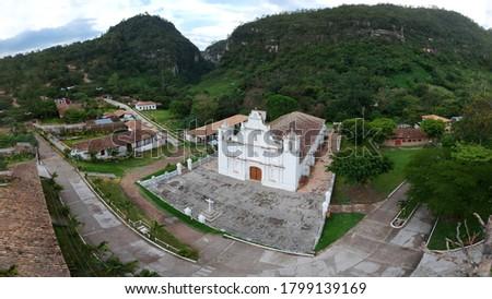 Panorama aerial view of catholic church in La Campa, Lempira, Honduras. Foto stock ©