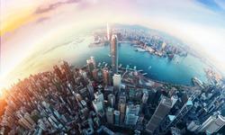 Panorama aerial view of Hong Kong City