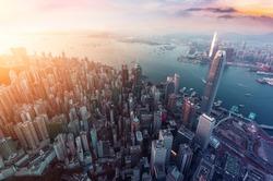 Panorama aerial view of Hong Kong Crowded Buildings