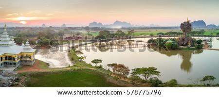 Panorama aerial view of the Kyauk Kalap monastery near Hpa-An, Myanmar Stock fotó ©