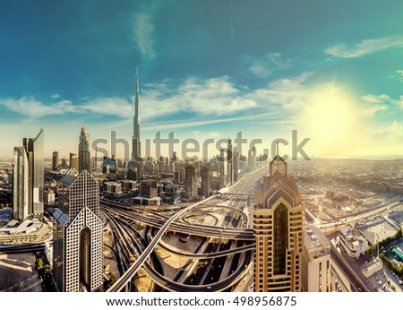 Panorama and aerial view of downtown Dubai in a summer day, United Arab Emirates #498956875