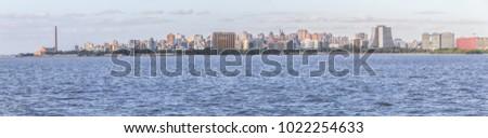 Panorama and cityview with Gasometro and Guaiba Lake, Porto Alegre, Rio Grande do Sul, Brazil