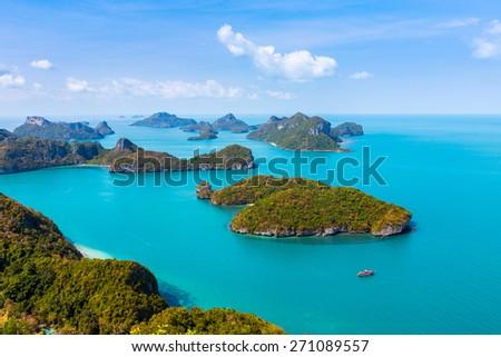 Panorama Ang Thong National Marine Park islands. Sleeping Cow Island, Three Pillars Island, Ko Wua, Talap Buaboke Cave, Ko Paluay. Thailand