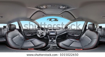 Panorama 360 angle view in interior leather salon of prestige modern car. Full 360 by 180 degrees seamless equirectangular equidistant spherical panorama. skybox for vr ar content