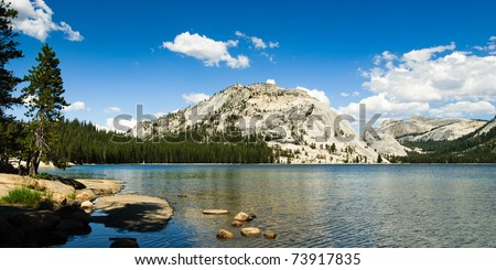 panorama at lake tenaya in yosemite national park, california, usa