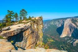 panorama at Taft Point in Yosemite National Park, California, United States. View from Taft Point: Yosemite Valley, El Capitan and Yosemite Falls.