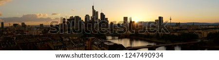 Panorama background with Frankfurt on Main skyline in the evening after sunset #1247490934