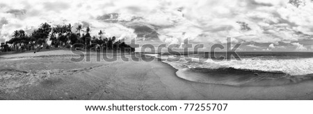 Panorama Bali Indonesia Beach ocean beach sand palm trees black and white landscape sky clouds