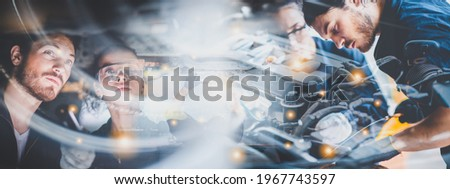 panorama banner background of mechanic working about auto car engine service, technician having automotive job to maintenance or repair automobile in motor garage, business industrial auto car engine