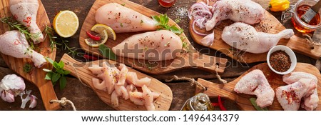Panorama banner of raw chicken portions for cooking and barbecuing with skinless breasts and diced strips for goulash or stir fry with legs and wings with skin viewed from above with fresh seasoning