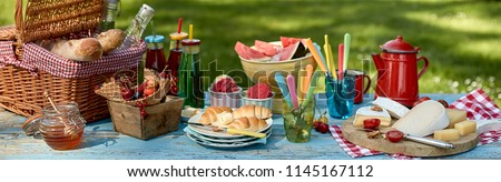 Panorama banner with a healthy summer picnic laid out on a garden table with assorted fresh fruit, croissants, honey, cheese bread and soft drinks with ice cream dessert