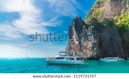 Panorama beautiful nature landscape of Phi Phi island with boat for traveler snorkeling Andaman sea Krabi Phuket, Water travel Thailand, Tourism destination place Asia, Summer holliday vacation trip