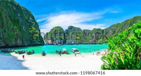 Panorama beautiful nature scenic landscape famous landmark beach Maya bay Krabi, Travel adventure Phuket Thailand, Tourism destination Asia plan, Popular travel place for summer holidays vacation trip