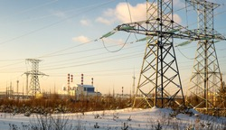 panorama Beloyarsk nuclear power plant with power lines, Russia, Ural, winter