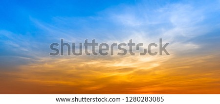 Panorama blue sky and silky cloud golden hour time at morning or evening nature background