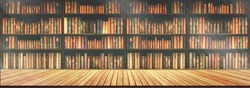 panorama blurred bookshelf Many old books in a book shop or library.