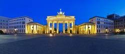 panorama brandenburg gate in berlin, germany, at night