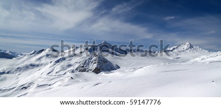 Panorama Caucasus Mountains. View from the ski slope of Elbrus