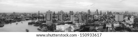 Panorama city scape, modern building Bangkok Business district.
