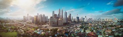 Panorama cityscape view in the middle of Kuala Lumpur city center , early morning with little mist , Malaysia .