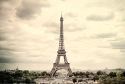 Panorama Eiffel Tower in Paris. France. Vintage view. Tour Eiffel old retro style.