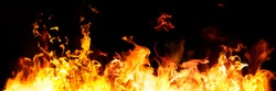 Panorama Fire flames on black background. fire burst texture for banner backdrop.