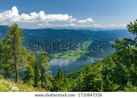 Panorama fo Bohinj lake in summer, view from Vogel, Julian Alpe Stockfoto ©
