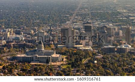 Panorama frame Panorama aerial view of Salt Lake City, Utah