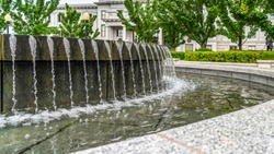 Panorama frame Water fountain with clear trickling water at Utah State Capitol Building