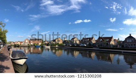 Panorama from a canal in Joure, Friesland The Netherlands Photo stock ©