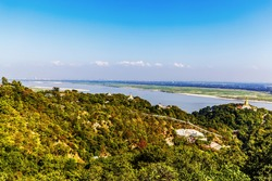 Panorama from Hsinbyume Myatheindan Pagoda (White Temple) in Mingun, near Mandalay in Myanmar (Burma)