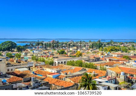 panorama from the air to the port city, Cuba stock photo