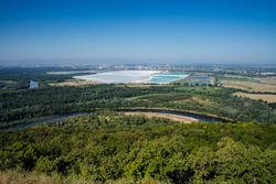 panorama from the mountains of Kustow Shikhany the city of Sterlitamak Soda plant with its white quarries, Sunny summer day, the nature of Bashkortostan