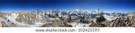 panorama from the summit of Mount Rixford in the Sierra Nevada Mountains of California