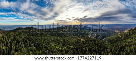 Panorama from the very top of Mt. Graham in Southeastern Arizona. Mt. Graham is the tallest mountain in Southern Arizona and ranks 4th tallest in all of Arizona.