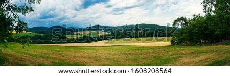 Panorama from tranquil landscape scene in Hessen Germany
