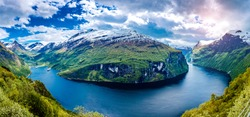 Panorama Geiranger fjord, Beautiful Nature Norway. It is a 15-kilometre (9.3 mi) long branch off of the Sunnylvsfjorden, which is a branch off of the Storfjorden (Great Fjord).