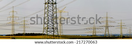 panorama group of many electric pylons