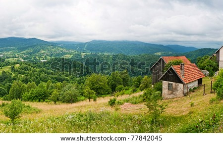 Panorama. High Tatras mountains in Slovakia with house