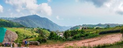 Panorama high view beautiful nature landscape of the mountain sky and forest in the morning on the hilltop viewpoint at Phu Thap Berk attractions of Phetchabun Province Thailand