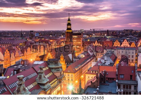 Panorama illuminated old town part of Wroclaw at night. Popular outsourcing service city. High dynamic range. #326721488